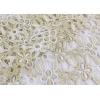 Polyester Lace Fabric With Floral Lace Designs Metallic Fabric For Fashion Garment Manufactures