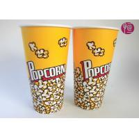 24oz Top95mm Disposable Popcorn Buckets With Paper Lid / Neutral Print Manufactures