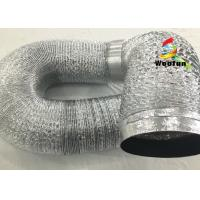 Silvery 12 Inch Aluminum Flexible Duct Eco - Friendly With Dual Layer Manufactures