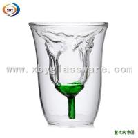 Double walled glass Rose cup/lover cup Manufactures