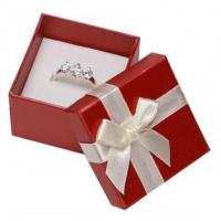 White Ribbon Jewelry Paper Boxes Red Printing Eco Friendly Material For Ring Gifts Manufactures