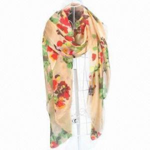 100% silk flower design printed scarf Manufactures