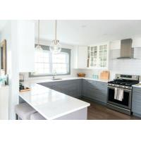 Pure White Long Stone Kitchen Worktops / Natural Quartz Countertops Manufactures