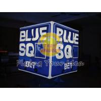Blue Inflatable Advertising Lighting Cube Balloon with 1 pcs energy saving bulb for Parade Manufactures
