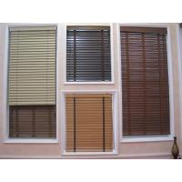 China 35mm 100% basswood venetian blinds for windows with steel headrail and wooden bottomrail on sale