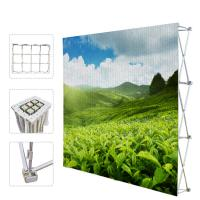 Portable Trade Show Backdrop Stand Various Shapes Detachable Frame 250g Fabric Manufactures