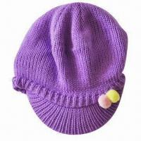Winter Hat with Visor and Accessory, Fashionable Style, Acrylic Material, Various Colors Available Manufactures