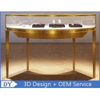 Curve Shape Stainless Steel Jewelry Counter With Glass Light For Shopping Mall Manufactures