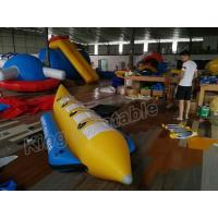 Blue And Yellow Inflatable Fly Fishing Boats / Inflatable Banana Boat 4 Seats