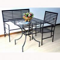 China Wrought iron garden furniture, includes one table with two foldable chairs on sale