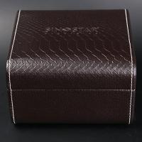 Single Twist Brown Leather Watch Box Elegant Style Recyclable With Stitching Manufactures
