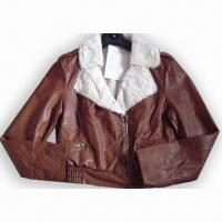 China Ladies PU Jacket with 3 Pieces Zipper on sale