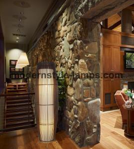 Black Color Bamboo Floor Light , Indoor Decorative Lights D29.5*H105cm Size Manufactures