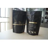 China Coffee Bean Packaging Matte Black Foil Pouch Packaging , Stand Up Degassing Valve on sale