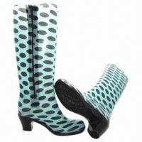China Ladies' PVC Rain Boots, High Heel Boots, Welcomed Customized Design, Size 36 to 41# on sale