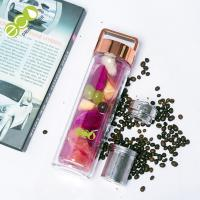 450ml Double Wall Glass Water Bottle with Tea Filter and Colorful Lid Manufactures