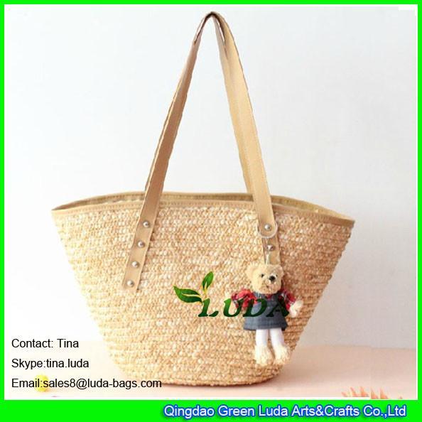 Quality LUDA fashion wheat straw beach bags discount designer handbags for sale