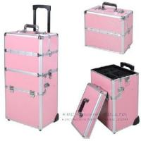 China Pink 2in1 Aluminum Rolling Hairdresser Case Lockable Wheeled Cosmetic Box on sale