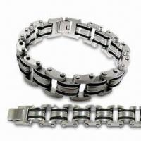 China 316L Stainless Steel Bracelet with Rubber, Customized Designs are Accepted, Measures 21cm on sale