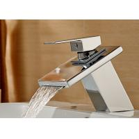 China Square Waterfall Spout Contemporary Bathroom Faucets ROVATE Single Zinc Handle on sale