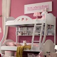Bunk Bed for Girls with Matte Painting Surface Finish, Made of MDF, Measures 120 x 190cm
