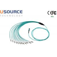 8 core 12 core Low Loss OM3 OM4 MTP - LC Fanout Optical MPO Cable Assemlies Manufactures