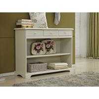 China Rustic White Wood Console Table With Drawers / Two Open Shelves on sale