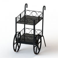 Wine Bottles Cart Food Display Stands With Metal Wire Shelves Two Layers Promotion Wine Cart Manufactures