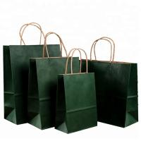 Roller Printing Medium Paper Bags With Handles / Kraft Paper Bags Machine Made Manufactures