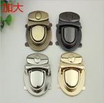 Fashionable handbag hardware zinc alloy nickel color metal push lock for bags Manufactures