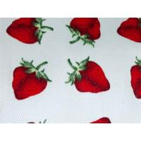 China Red Strawberry Printed Cotton Canvas / Anti Dirt Baby Cotton Fabric on sale