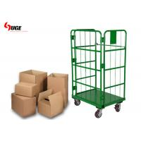 Green Powder Coated Roll Cage Trolley For Warehouse And Cold Storage