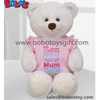 White Plush Teddy Bear Toy with Pink Dressing as Mother