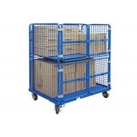 China Demountable Rolling Storage Cage Heavy Duty Stackable Zinc Plated Surface on sale