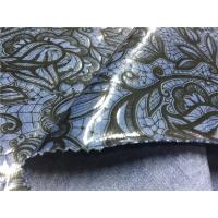 Blue Tpu Leather Bonded With Printed Black Flowers Customized Width Manufactures