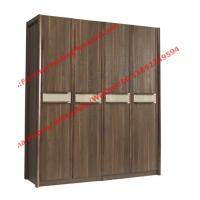 Quality Walnut color Wardrobe armoires in four open doors and shelves for residence home Whole project furniture for sale
