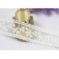 Scalloped Floral Embroidery Cotton Nylon Lace Trim For Ivory Lace Wedding Dress Manufactures
