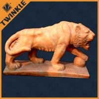China Decorative Marble Natural Lion Stone Sculptures Holding Stone Ball on sale