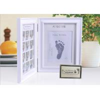 Wood Safe Baby Hand And Footprint Photo Frame Kit Non Toxic Ink Pad For Girls / Boys Manufactures