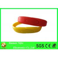 OEM / ODM Red or Yellow Personalized USB Drives Wristband / Silicone Bracelets Manufactures