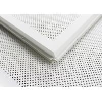White Perforated Lay In Ceiling Tiles 2 x 2 , Metal Ceiling Tiles For Train station Manufactures