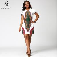 Mosaic Womens African Print Dresses Clothing Round Collar Dashiki Style Manufactures