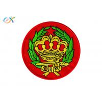 Round Iron On Patches , Custom Embroidered Badge Patches Pantone Color Manufactures