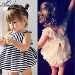 Agou 2016 Ins Hot Baby Girl Sets Striped Bow Princess Toddler Clothing Sets Infant Kids Manufactures