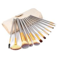 China Wood Travel Makeup Brush Set Champagne Gold For Foundation Powder on sale
