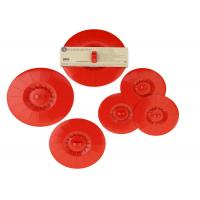 Durable Red Silicone Cup Cover Lid 5 Pcs Set With Waterproof Leak Tight Barrier Drop Manufactures