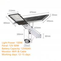 100W ANLD405S-100WG Solar LED Street Light DC 12V with Monitor, WIFI, Cable & Memory Card Manufactures