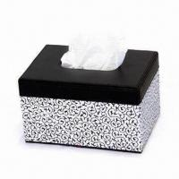 China New Design Leather Tissue Box Cover, Made of PU/PVC Material, Measures 25.5 x 14 x 10cm on sale