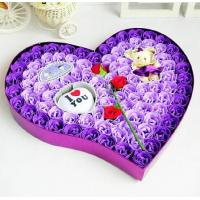China Soap flowers in heart shape gift box, handmade flower soap box set in mixed various color on sale