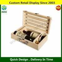 China Wooden Crate 2 Wine Bottle Travel Storage Box Carrying Display Case YM6-086 on sale